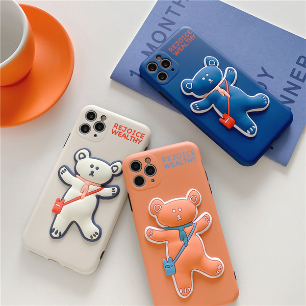 iPhone11ProMax 蘋果手機殼 可掛繩 韓國背包小熊熊 矽膠軟殼 iX/i8/i7