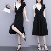 微胖妹妹大碼洋裝 2020夏女裝遮肚子洋氣假兩件超仙肥mm減齡顯瘦連身裙 JX573『優童屋』