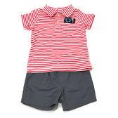 Carter s 短袖套裝 上衣polo杉+短褲二件組紅橫條 男寶寶【CA229G667】