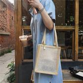 韓國夏天草編包女編織手提包休閒文藝復古學生沙灘包 盯目家