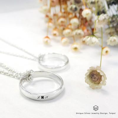 訂製對戒鍊 情侶對戒 4mm弧形刻字  英文 文字 姓名 純銀戒指 純銀項鍊