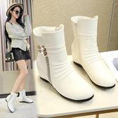 雪地靴內增高女靴子女士厚底楔形平底短靴中筒靴單靴馬丁靴雪靴 格蘭小舖