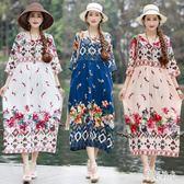 波西米亞洋裝 新款民族風大碼氣質波西米亞長裙時尚高腰印花中袖沙灘裙 aj2768『美好時光』