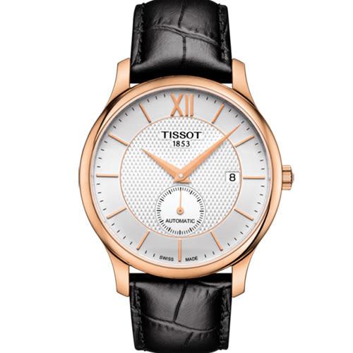 [結帳再折]TISSOT 天梭 TRADITION 38小時動力儲存時尚男性皮帶機械腕錶/40mm/T0634283603800