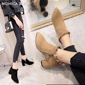 裸靴女秋粗跟加絨短靴女士韓版尖頭單靴百搭馬丁靴高跟鞋   莫妮卡小屋