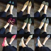 新款簡約百搭時尚尖頭軟底舒適平跟單鞋韓版蝴蝶結平底單鞋女 雲雨尚品