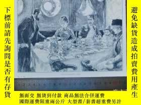 二手書博民逛書店【罕見】1890年小幅木刻版畫《在餐廳用餐》(diner im