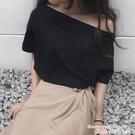 一字肩上衣 一字肩上衣女2021新款網紅斜肩露肩夏季短袖寬鬆性感氣質時尚T恤 曼慕