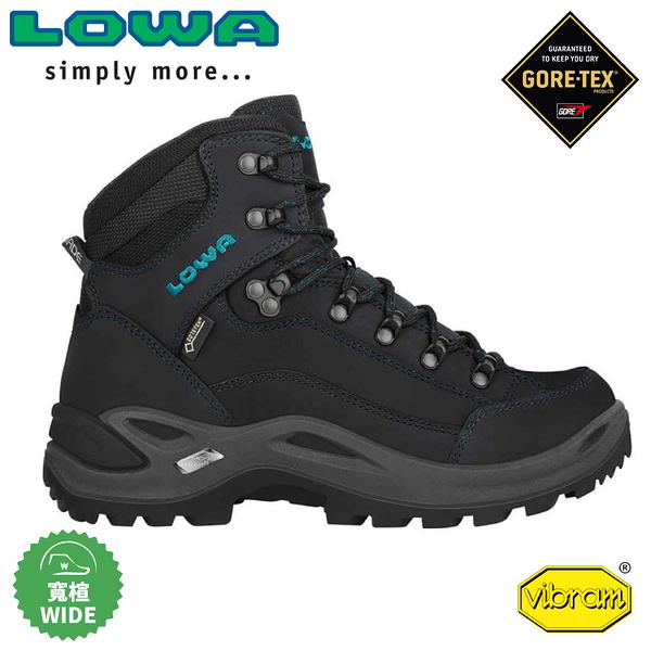 【LOWA 德國 女 Renegade GTX Mid寬楦中筒多功能健行鞋《灰黑/藍綠》】LW320968/登山鞋/健行鞋