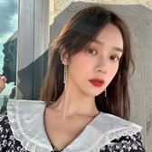 捲珠簾 流蘇耳環女氣質長款超仙珍珠鑲鑽韓國時尚耳飾顯臉瘦R480  潮流衣館