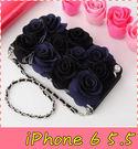 【萌萌噠】iPhone 6 / 6S Plus (5.5吋)  韓國立體黑玫瑰保護套 帶掛鍊側翻皮套 支架插卡 手機殼 硬殼