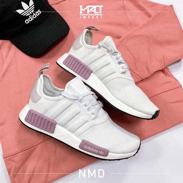 IMPACT Adidas NMD R1 白粉 粉 紫 輕量 芋頭 乾燥玫瑰 編織 黑底 女鞋 百搭 慢跑 BD8024