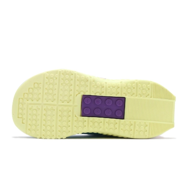 adidas 慢跑鞋 Lego Sport CF I Girls 藍 黃 樂高 聯名 魔鬼氈 運動鞋 童鞋 小童鞋【ACS】 FZ0403