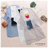 Catworld 正韓空運*純色開襟長版針織外套【15003674】‧F