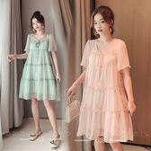 孕婦夏裝潮媽遮孕肚女裝洋氣孕婦洋裝超仙女時尚孕媽裝夏天裙子 滿天星