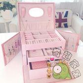 手飾盒耳釘首飾盒木質公主歐式帶鎖韓國首飾收納盒飾品盒絨布