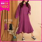 (現貨-黑)PUFII-洋裝 魚尾造型保暖內磨毛連身裙長版洋裝 2色-1122 現+預 冬【CP15609】