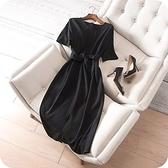 洋裝-短袖純色時尚優雅氣質連身裙73sz47【時尚巴黎】