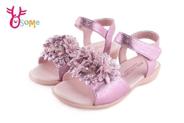 KING CHILDRED精品 真皮涼鞋 花朵 水鑽 低跟涼鞋 I6783#粉紅◆OSOME奧森童鞋