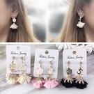 無耳洞耳環 現貨 韓國小香風 跳舞芭蕾 花朵 不對稱 珍珠 夾式耳環 S91416 Danica 韓系飾品 韓國連線
