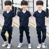 男童童裝2020新款韓版夏季套裝兒童休閒兩件套洋氣夏裝帥氣8歲潮 yu12627『寶貝兒童裝』