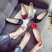 瓢鞋女春秋季圓頭小碼33-34淺口平底單鞋工作鞋平跟大碼女鞋40-43