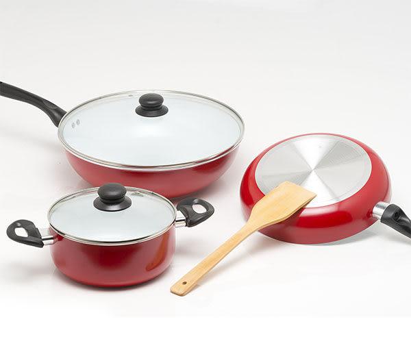 《固鋼》color cook 白陶瓷炒鍋平煎鍋湯鍋6件式/三鍋超值六件組/ 不沾鍋 炒菜鍋 平底鍋