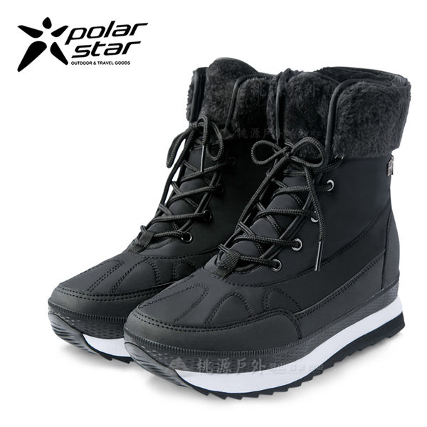 PolarStar 女 保暖雪鞋│雪靴│冰爪『爵士黑』 P16632 (內厚鋪毛/ 防滑鞋底) 雪地靴.雪地必備