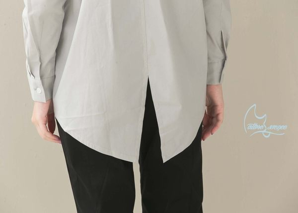 NATURE & ESSENCE純粹本質C002WGY 低調灰~ 開襟前後不等長~傘狀襯衫 ( 台灣專櫃柔棉彈性襯衫布)