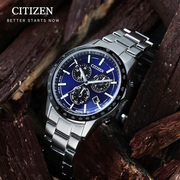 CITIZEN星辰 萬年曆光動能時尚腕錶 BL5496-96L 藍/現貨