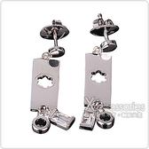 萬寶龍MONTBLANC 六角星LOGO寶石墜飾穿式耳環(銀)