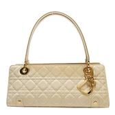 Dior 迪奧 米色藤格紋牛皮Cannage縫線肩背包 05-MA-0076 【二手名牌BRAND OFF】