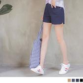 OB嚴選《BA3247-》高含棉純色後腰鬆緊設計挺版短褲 --適 S~XL