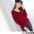 《FA1527-》純色仿羊毛細針織V領上...