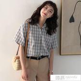 襯衫 夏季學院風新款格子短袖寬鬆顯瘦百搭休閒襯衣學生女 韓慕精品