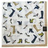 【波克貓哈日網】日系DAKS 手帕領巾◇鞋子圖案◇《50x50 cm》駝色收邊