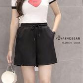 氣質短褲--時尚休閒風綁繩收腰鬆緊修身素色口袋百搭短褲裙(黑XL-3L)-R223眼圈熊中大尺碼