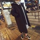 韓國東大門加厚加絨棉衣女寬松長款連帽過膝棒球服情侶大棉襖外套