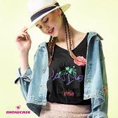 【SHOWCASE】率性玫瑰印花V領後交叉寬版T恤(黑)