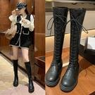 長靴 不過膝小個子長靴長筒馬丁靴女加絨系帶騎士靴春秋單靴 阿薩布魯
