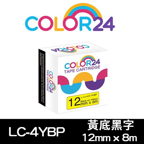 【COLOR24】for EPSON LC-4YBP / LK-4YBP 黃底黑字相容標籤帶(寬度12mm) /適用 LW-K400/LW-200KT/LW-220DK/LW-K600