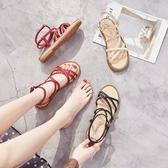 涼鞋女夏季百搭海邊度假平底學生超火羅馬綁帶仙女鞋 交換禮物
