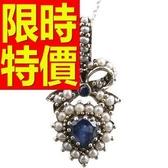 藍寶石 項鍊 墜子S925純銀-1.7克拉生日情人節禮物女飾品53sa36【巴黎精品】