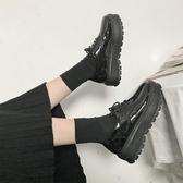 英倫風女鞋秋季復古厚底單鞋高跟漆皮繫帶百搭鬆糕軟妹小皮鞋女 夢想生活家