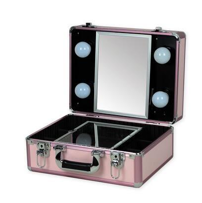 高檔小型專業帶燈化妝箱LED手提式帶鏡子彩妝跟妝便攜式工具箱