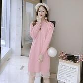 針織洋裝中長款配大衣洋裝女裝秋冬季年冬裙新款韓版寬鬆打底毛衣裙 雙12全館免運