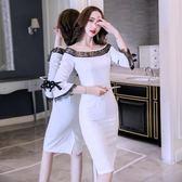 洋裝秋裝女款一字肩性感蕾絲心機裙子復古名媛氣質連身裙8116GT2F-261-B快時尚