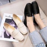 方頭鞋豆豆鞋女春季韓版平底單鞋一腳蹬樂福鞋學生小皮鞋潮 科炫數位