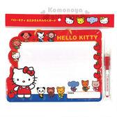 〔小禮堂〕Hello Kitty 造型可掛式留言白板附筆《紅白.動物朋友》告示板.銅板小物 4513750-70958