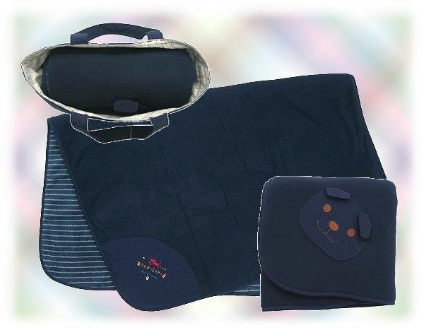 【波克貓哈日網】手提包隨身毯組◇KUSU GURU◇《雙面刷毛設計》深藍色大